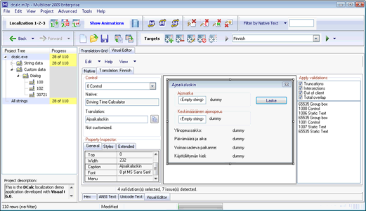 Screenshot of Multilizer 2009 Dialog resource editor: this editor allows visual localization of dialog resources of a Windows 32bit executable.